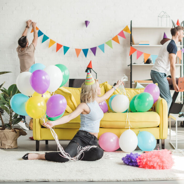 young people setting up for a party