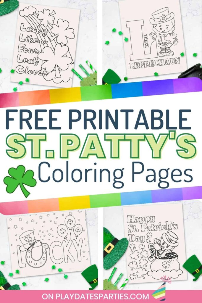 collage of four coloring pages with text overlay free printable St. Patty's Coloring Pages