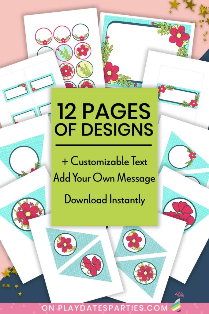 mock up of party printables package with text overlay 12 pages of designs plus customizable text. add your own message. Download Instantly
