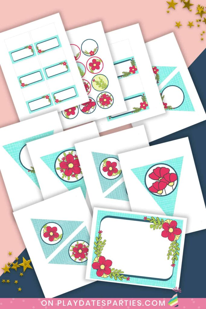 mockup of party printables with a light blue background and dark pink flowers