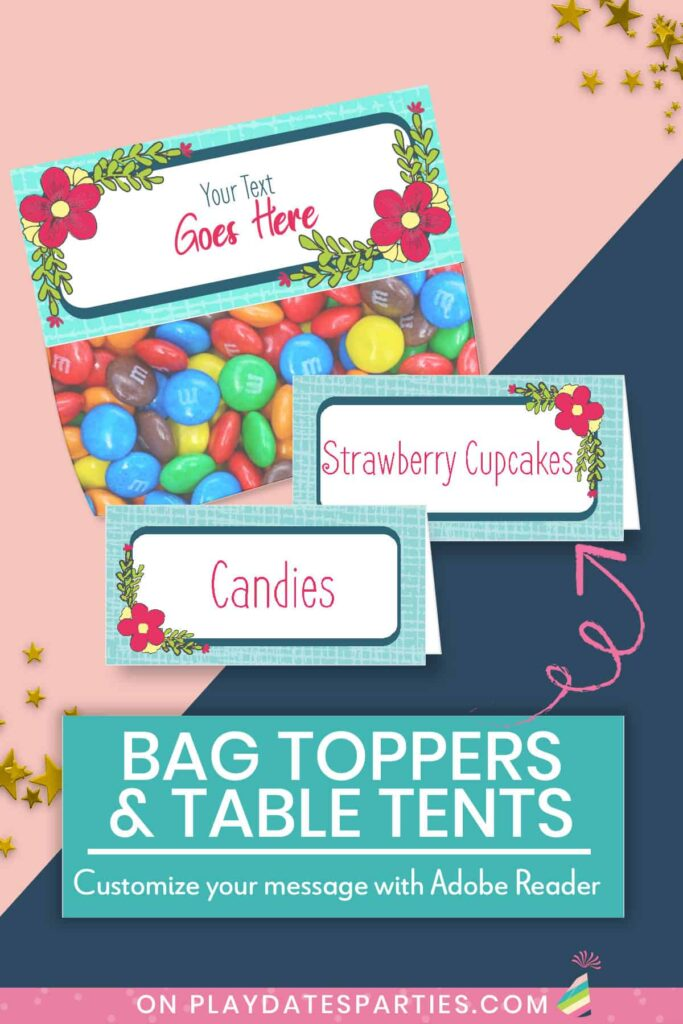 Bag Toppers and table tents editable in Adobe Reader