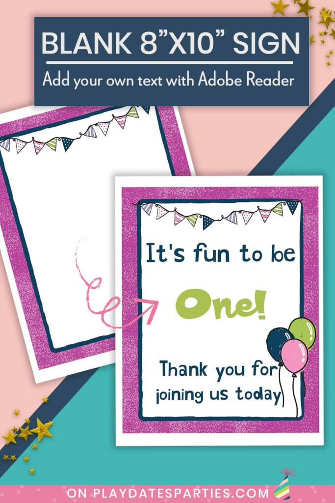 mockup showing how the blank 8x10 printable party sign can be edited