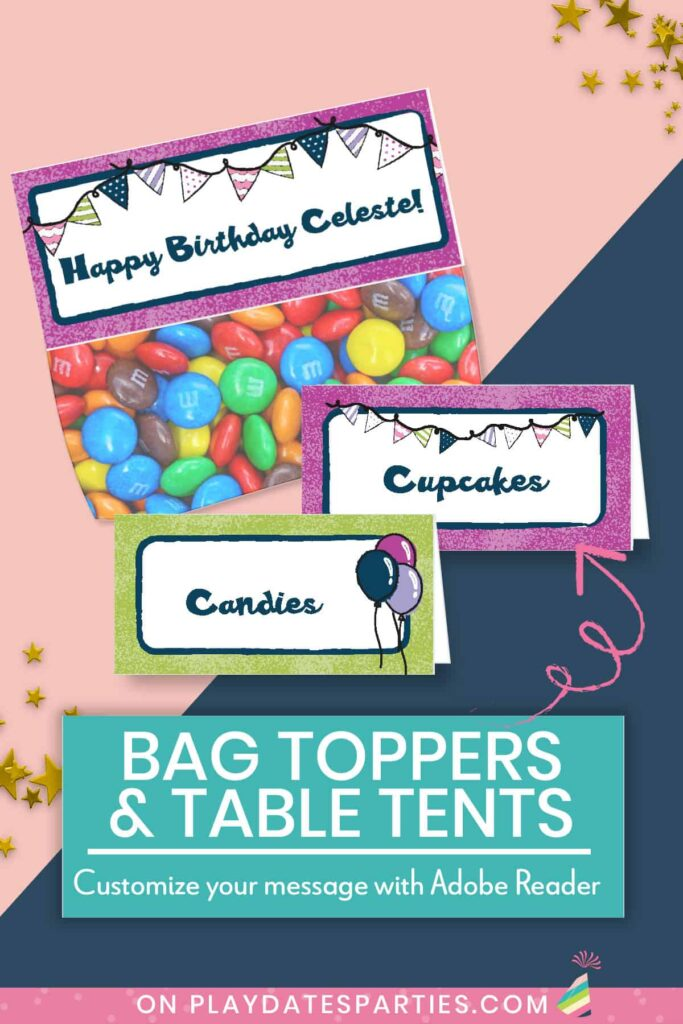 mockup of bag toppers and table tent cards with editable text