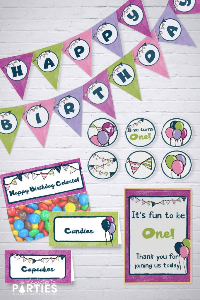 mockup of birthday party printables in dark purple, pink, green, and light purple with a balloons and buntings motif