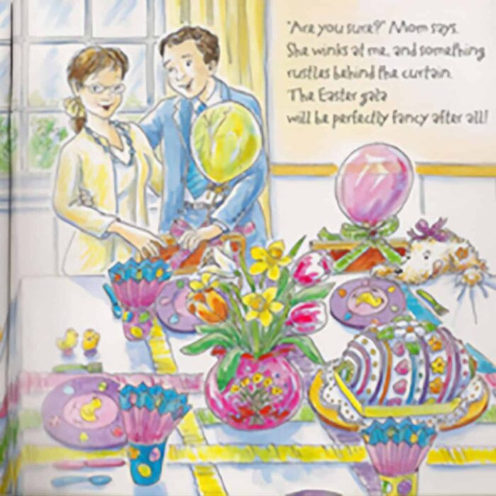 Photo of Easter table setting from children's book Fancy Nancy
