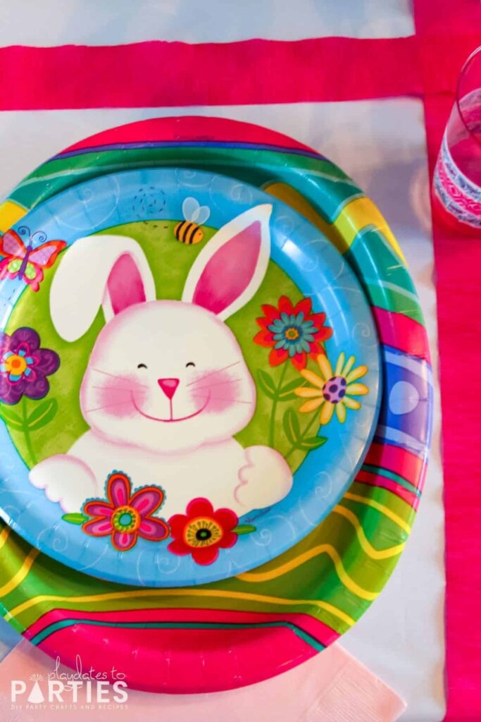 overhead view of colorful Easter plates for kids with a cute bunny face