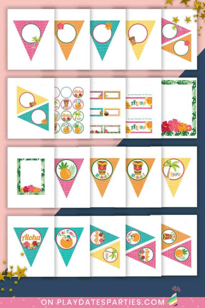 mockup displaying all the pages in the luau party printables set