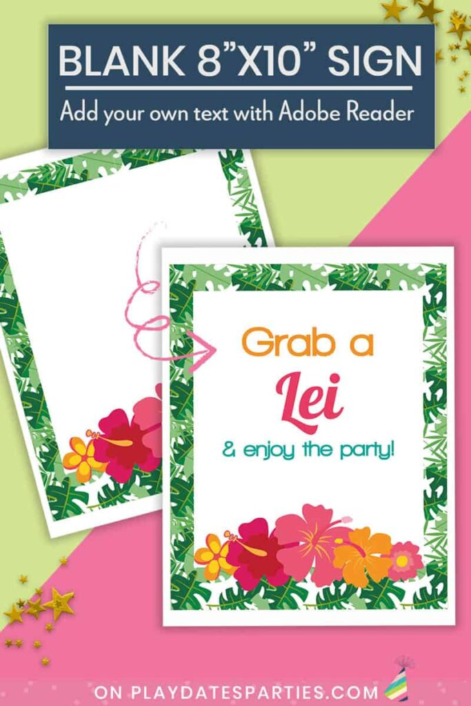 mockup showing blank luau party sign and what it looks like filled in