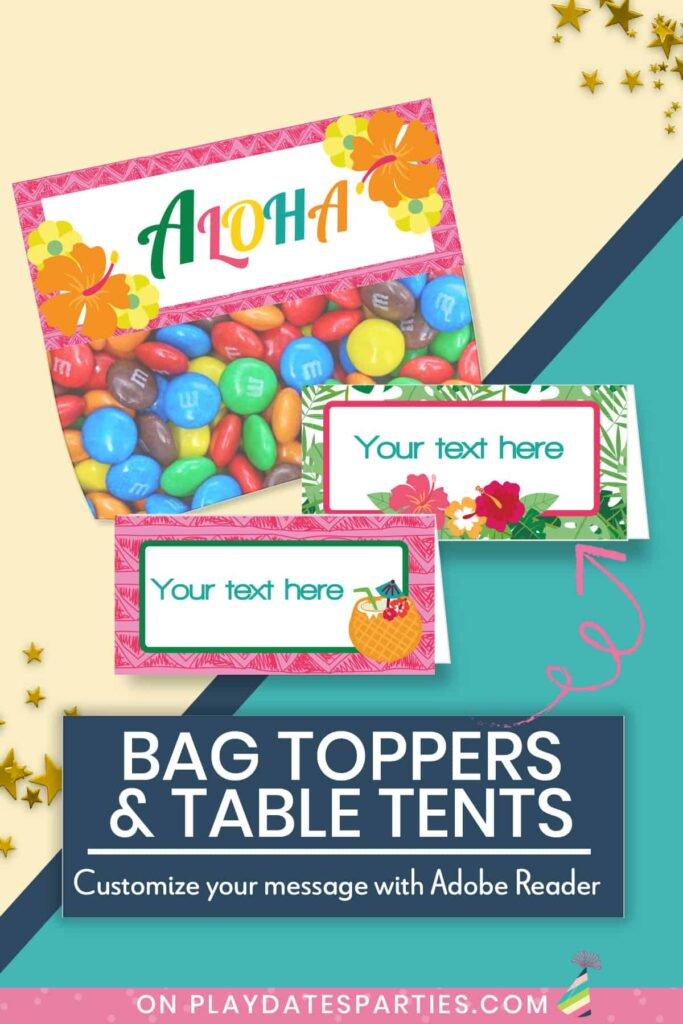 Image showing filled in luau bag topper and food labels