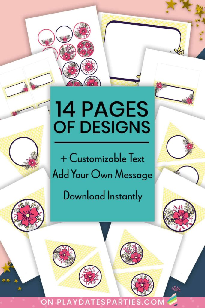 mockup of pages from the yellow and pink party printables set with text overlay 14 pages of designs plus customizable text. Add your own message. Download instantly