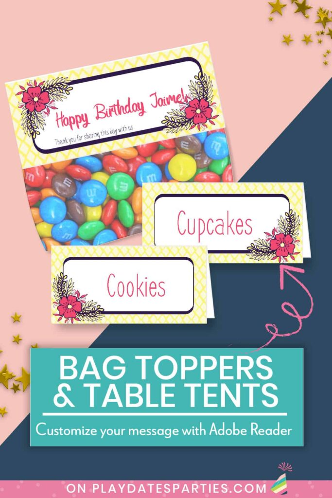 Image showing filled in bag topper and food labels