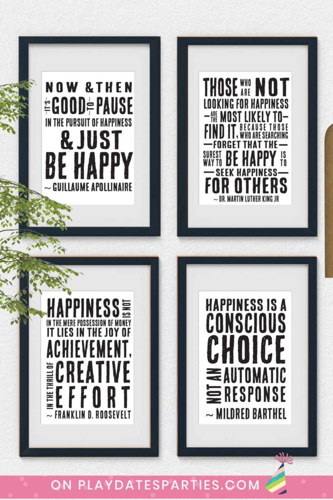 image of four black and white art prints of happiness quotes