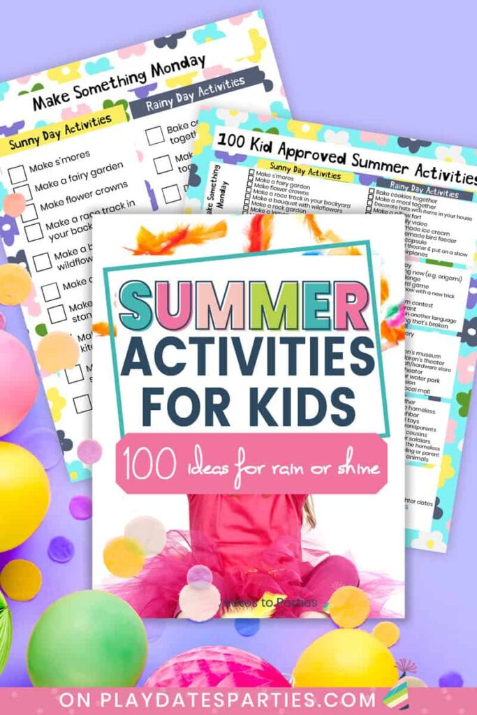 mockup of cover and two pages of summer activities printable checklist