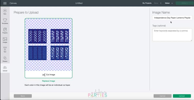 screenshot of Cricut Design Space upload screen with an image of four patriotic luminaries