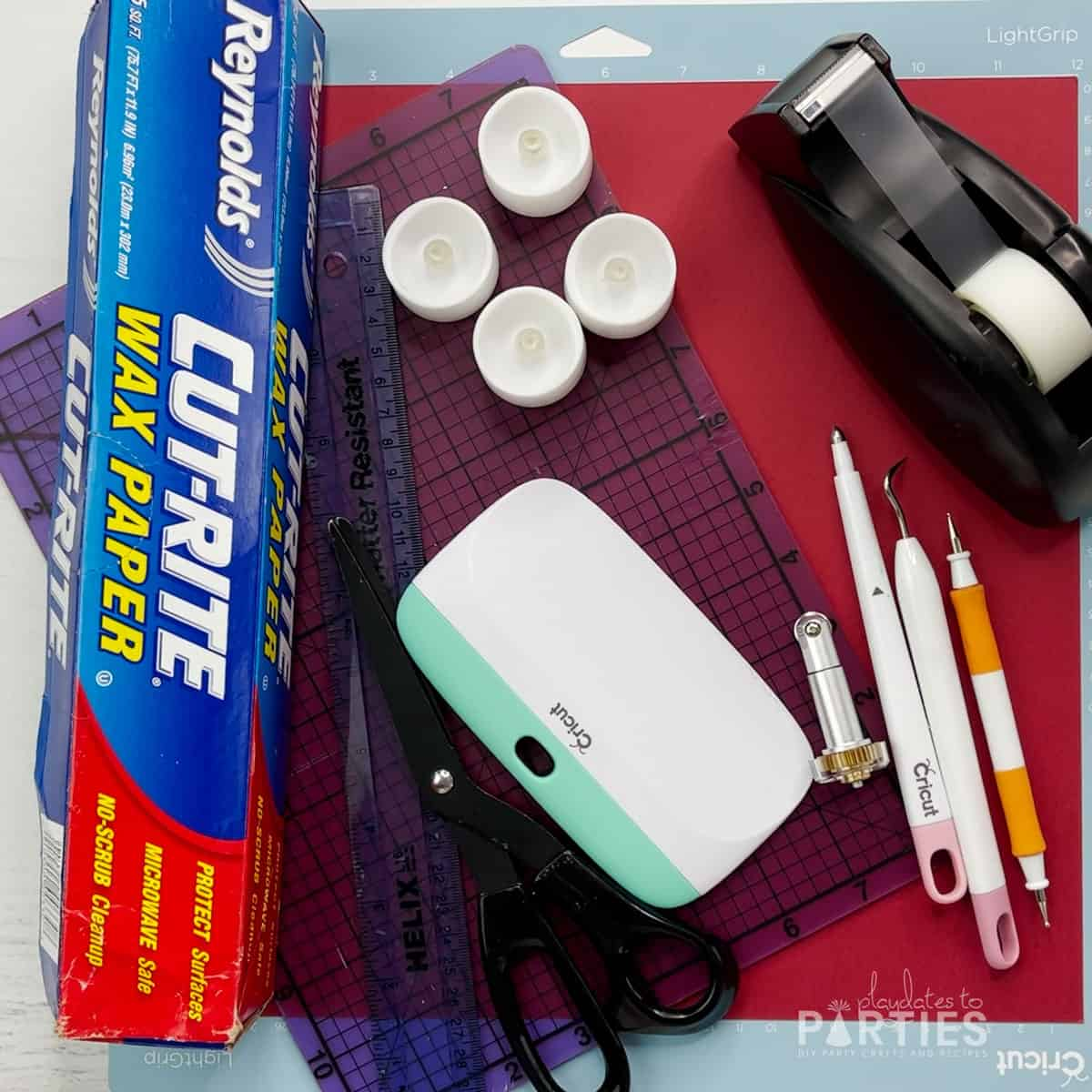 Supplies needed for making a paper luminary with the Cricut