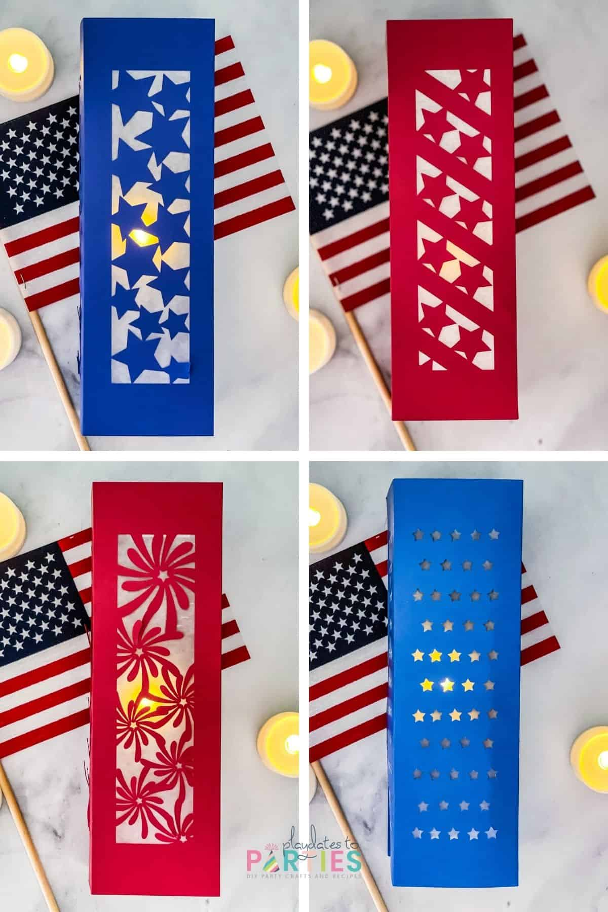 collage of four photos - each showing a different patriotic paper lantern design
