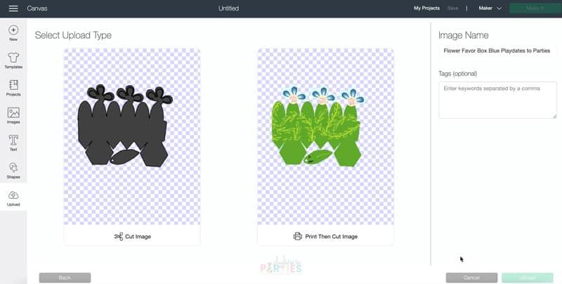 Choose print then cut image when uploading the file