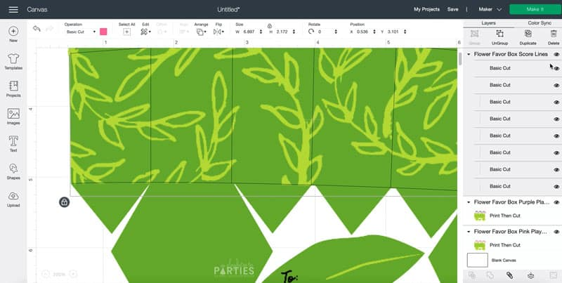 align the score overlay over the dashed lines in the print then cut image