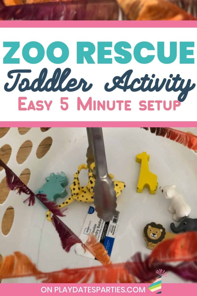 kitchen tongs reaching to grab a toy leopard with text overlay: zoo rescue toddler activity- easy 5 minute setup