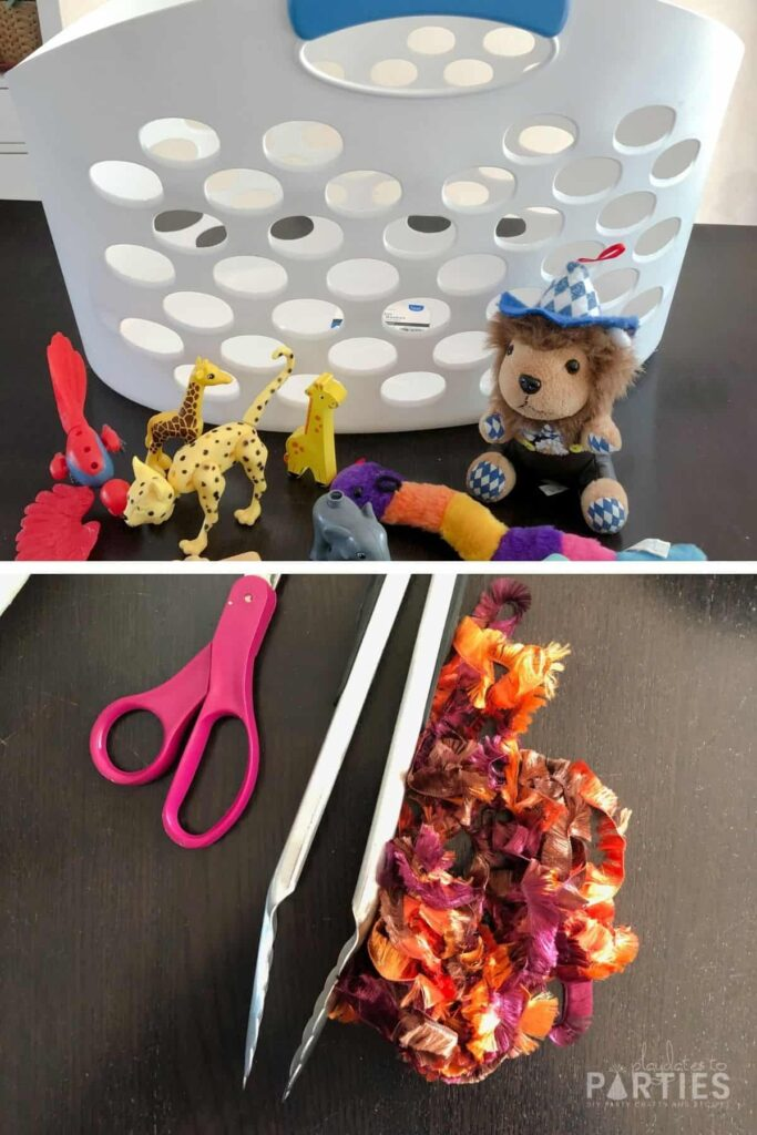 collage of zoo rescue supplies: laundry basket, small toy animals, scissors, yarn, and kitchen tongs
