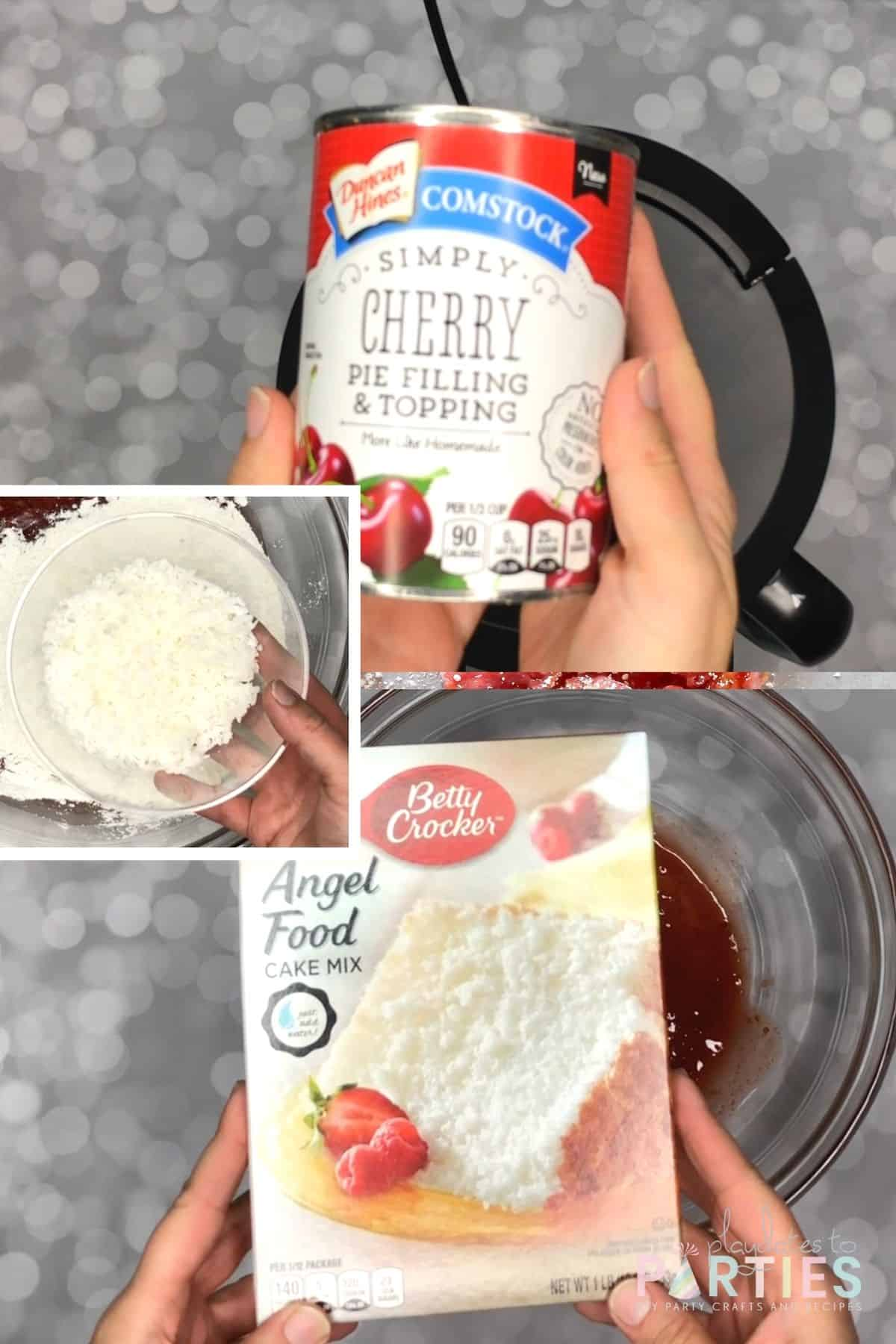 collage of ingredients to make cherry angel food cake bars: cherry pie filling, a 1 pound box of angel food cake mix, and flaked coconut