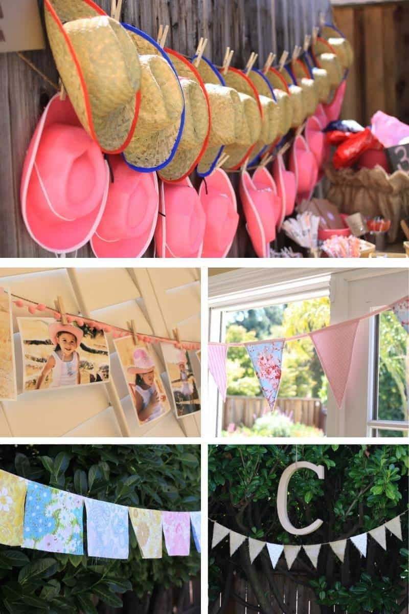 Vintage inspired party banners - cowboy and cowgirl hats arranged as a banner, a photo banner of the birthday girl, fabric scraps sewn together as party banners, and a burlap bunting