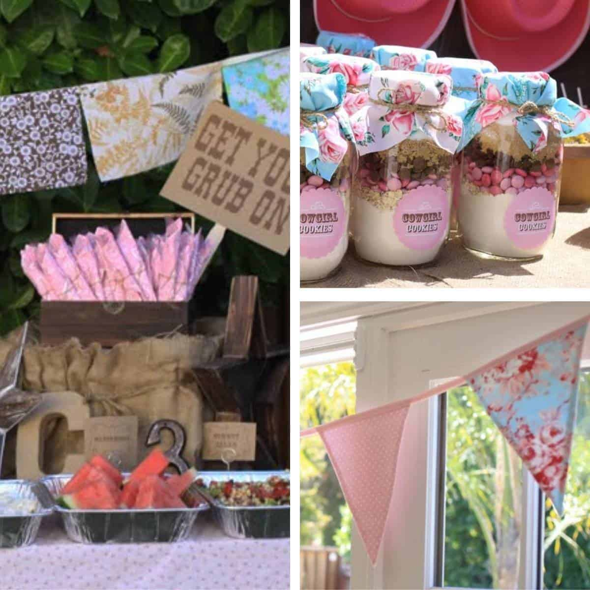Collage of party decorations made with vintage fabrics, including buntings, tablecloths, and mason jar toppers
