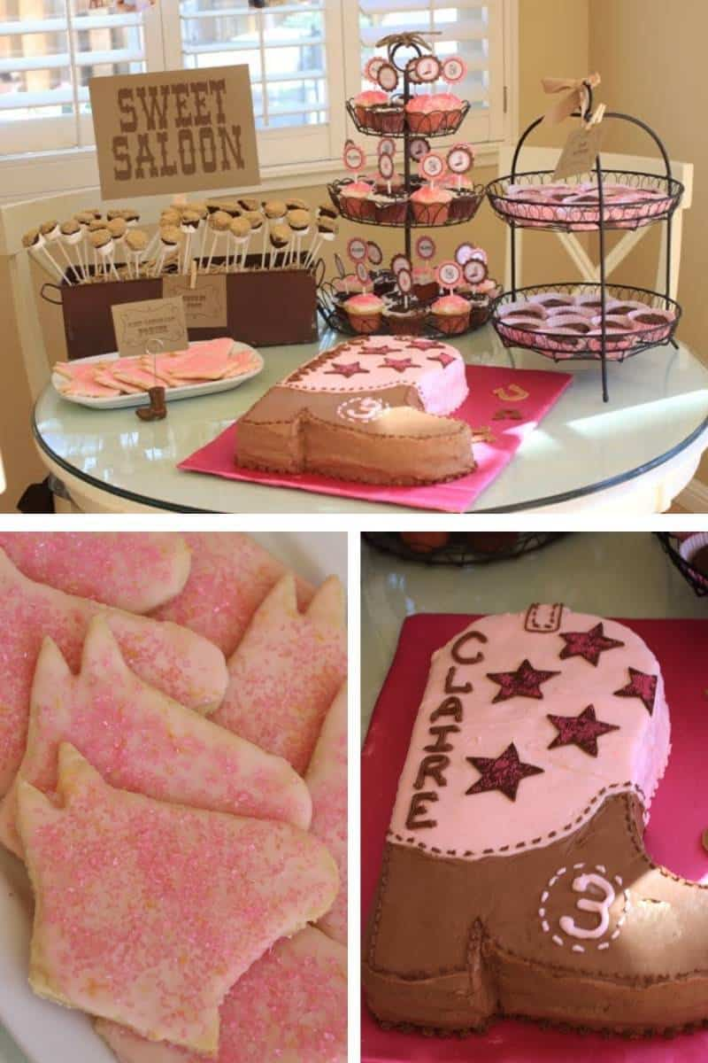 """Cowgirl themed dessert table foods, with a sign that says """"Sweet Saloon"""""""