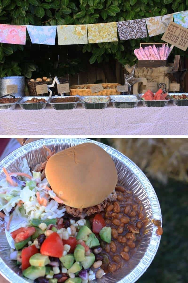 Collage of party food: dinner buffet in tin foil pans, and a pie tin used as a food plate