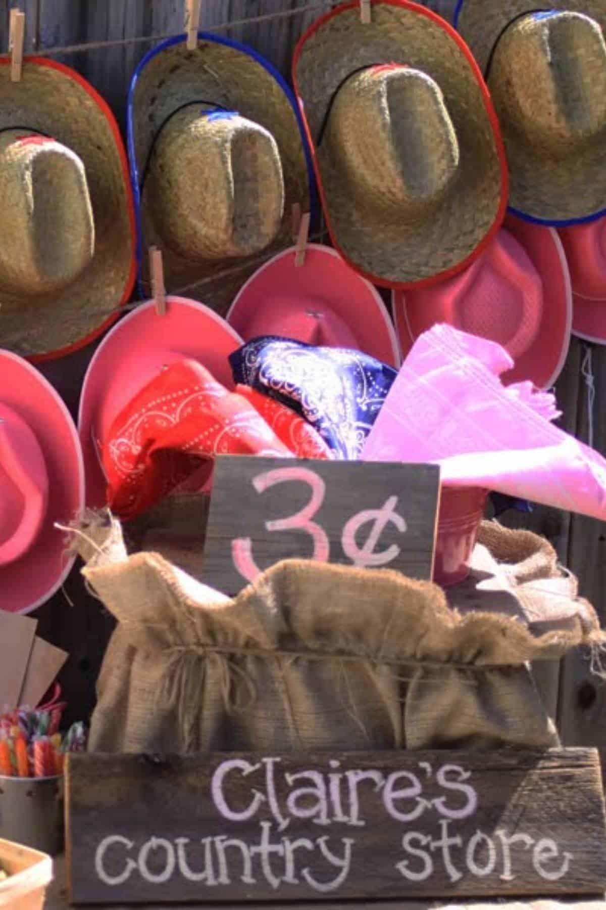 Close up of a cowgirl party buffet with a handmade sign that says Claire's Country Store