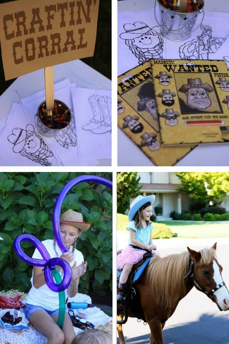 Western themed party games: craftin corral, coloring pages, pony rides, and balloon animals