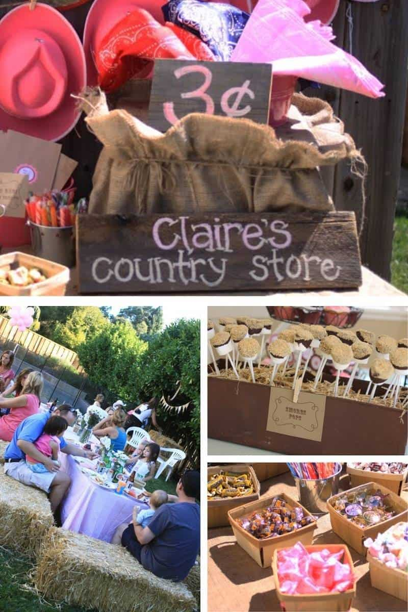 cowboy party ideas for a girl, including hay bale seating, a wood sign, and wood boxes to hold food