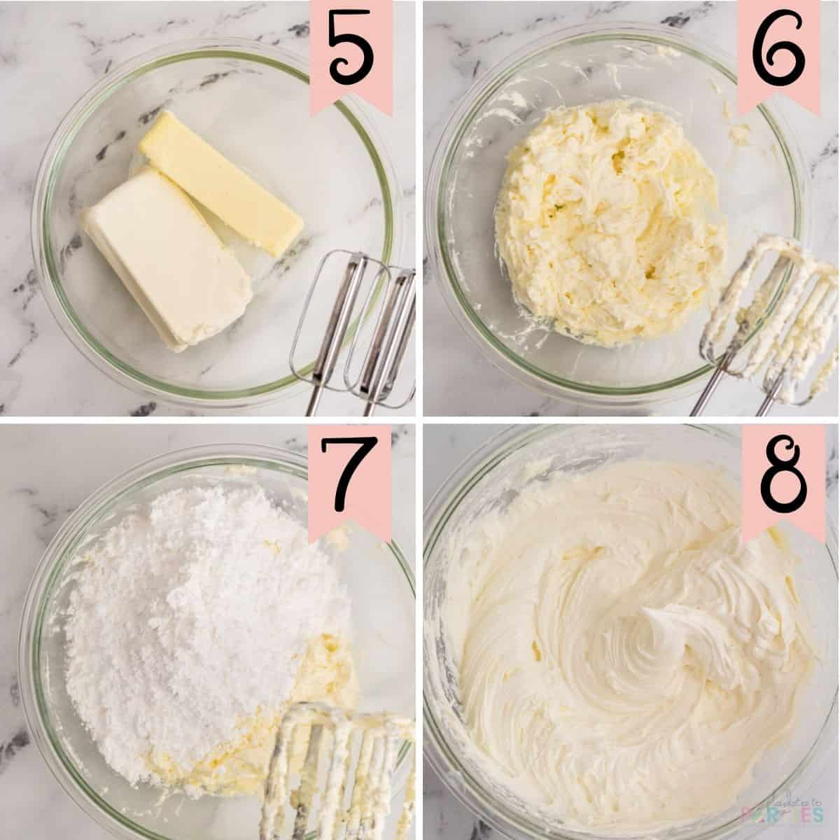 Collage of steps 5 through 8: showing how to make cream cheese frosting from scratch