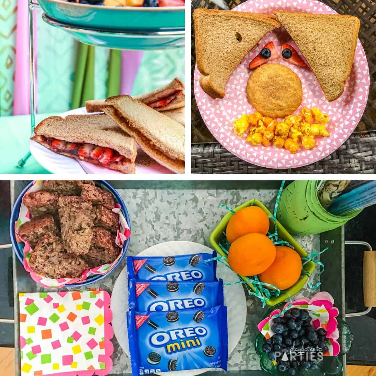 Simple picnic food including banana bread, clementines, sandwiches, popcorn, and cookies