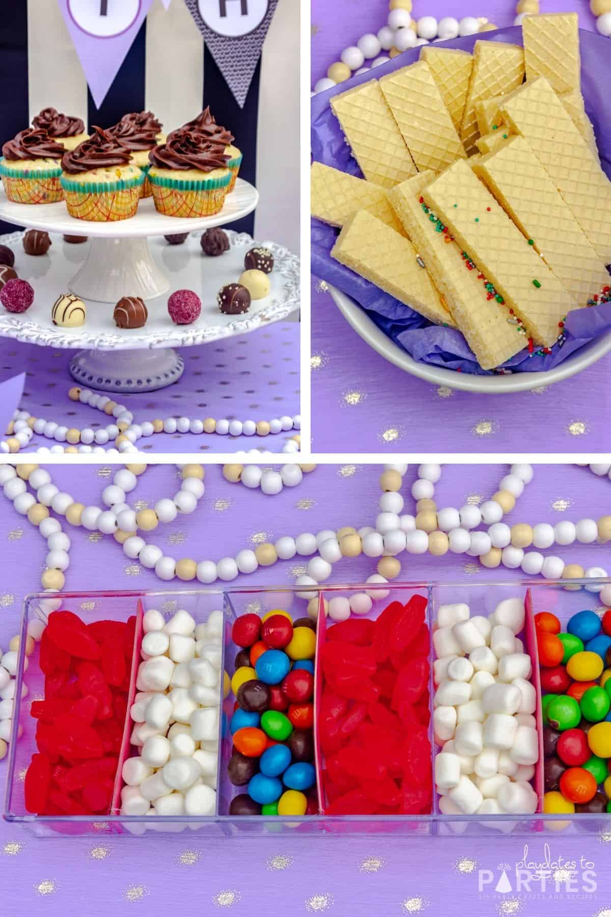 collage of sweet treats for a birthday party including swedish fish, mini marshmallows, M&Ms, chocolate truffles, sugar wafer cookies, and homemade cupcakes