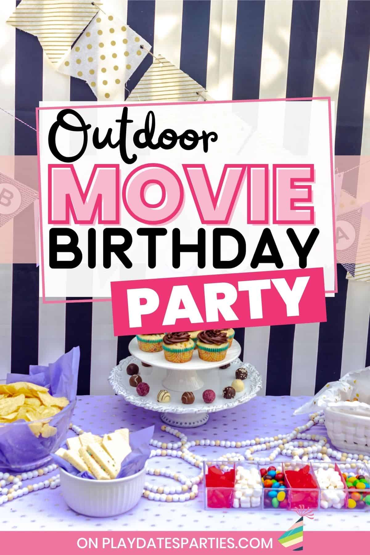 Dessert table setup with a purple and black color theme and a text overlay Outdoor Movie Birthday Party