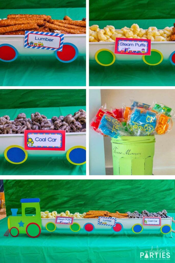 collage of party food: coal car, lollipops in a green painted jar, steam puffs, and pretzel rods as lumber