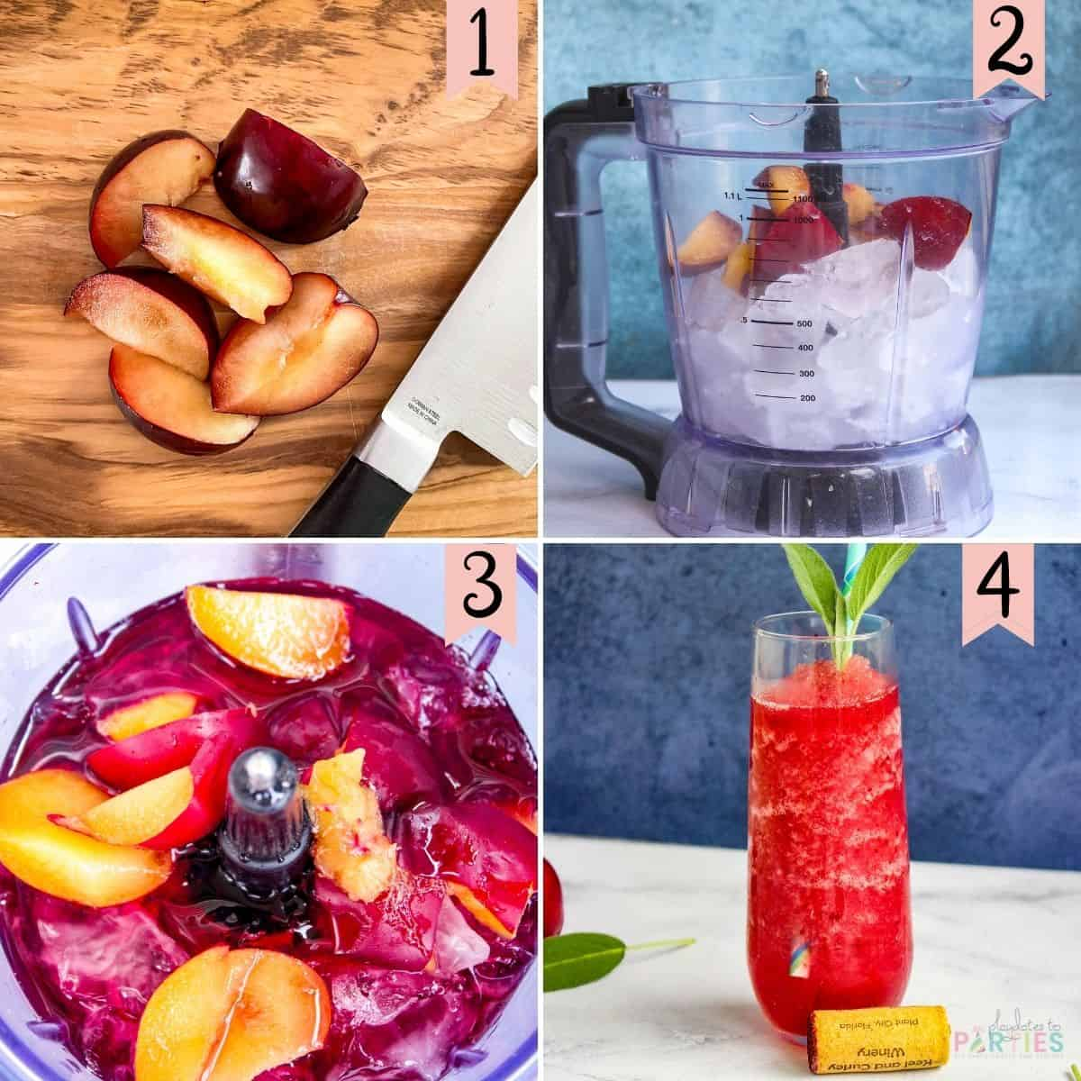 Collage of step by step photos to make blueberry wine slushies with fresh pears