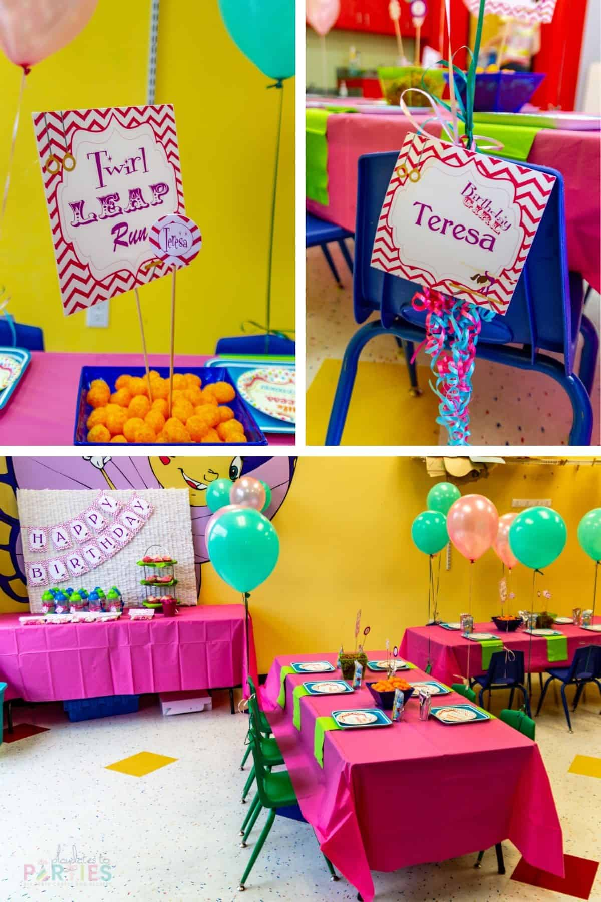 collage of bright and colorful birthday party decorations at a party venue