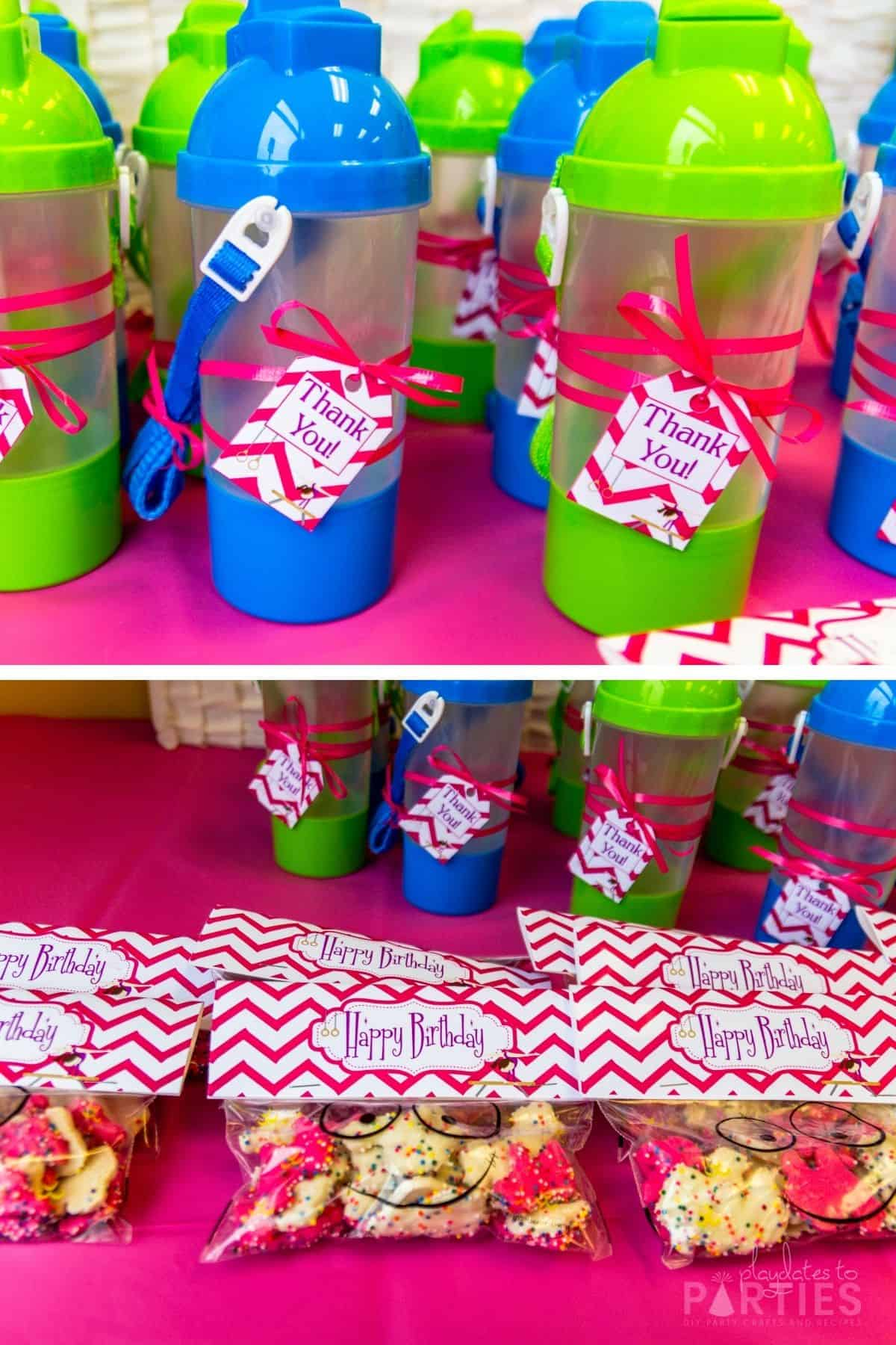 collage of party favors with gymnastics themed labels, including frosted cookies and hidden compartment sippy cups