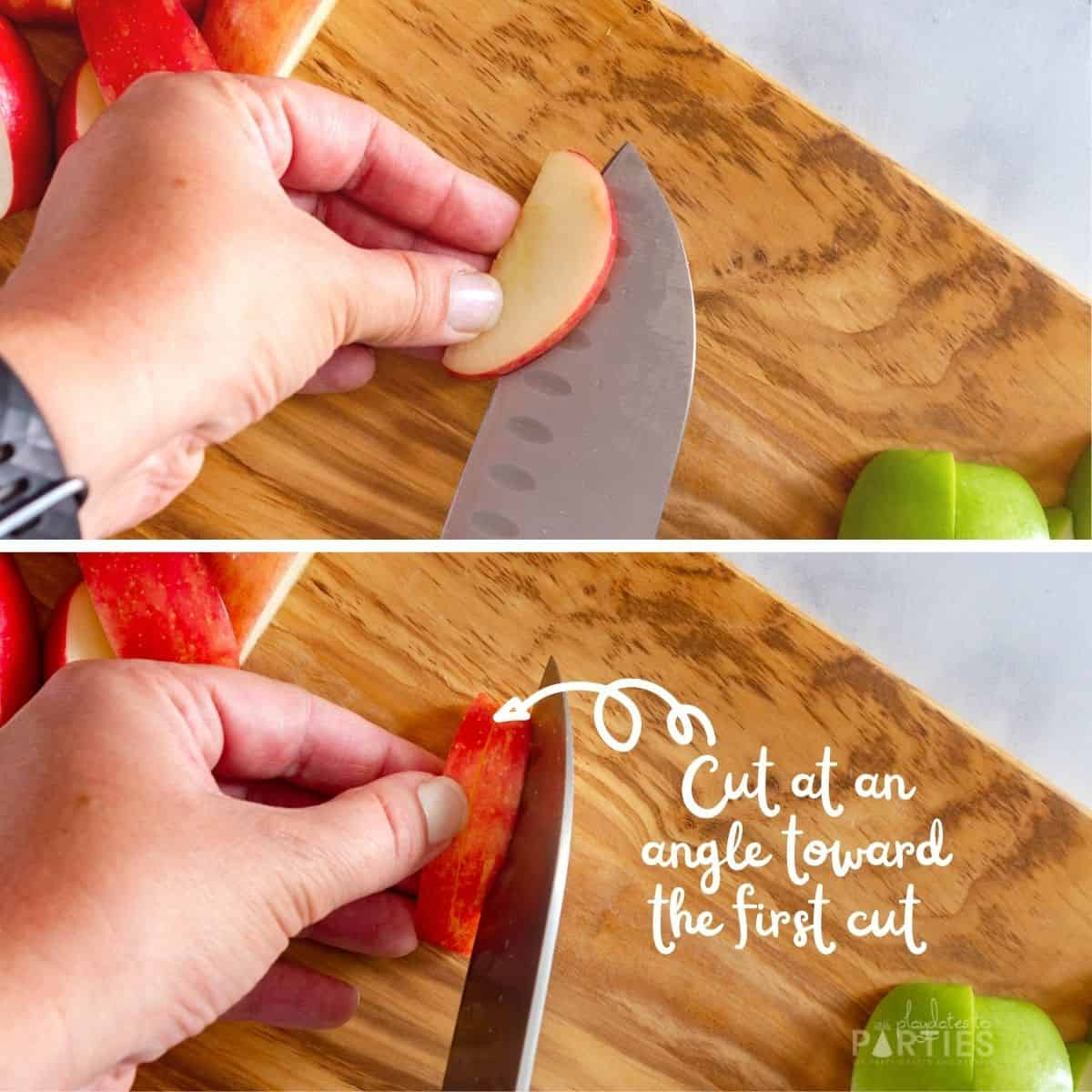 Collage of 2 steps showing how to cut a mini wedge out of a larger apple wedge to create a mouth
