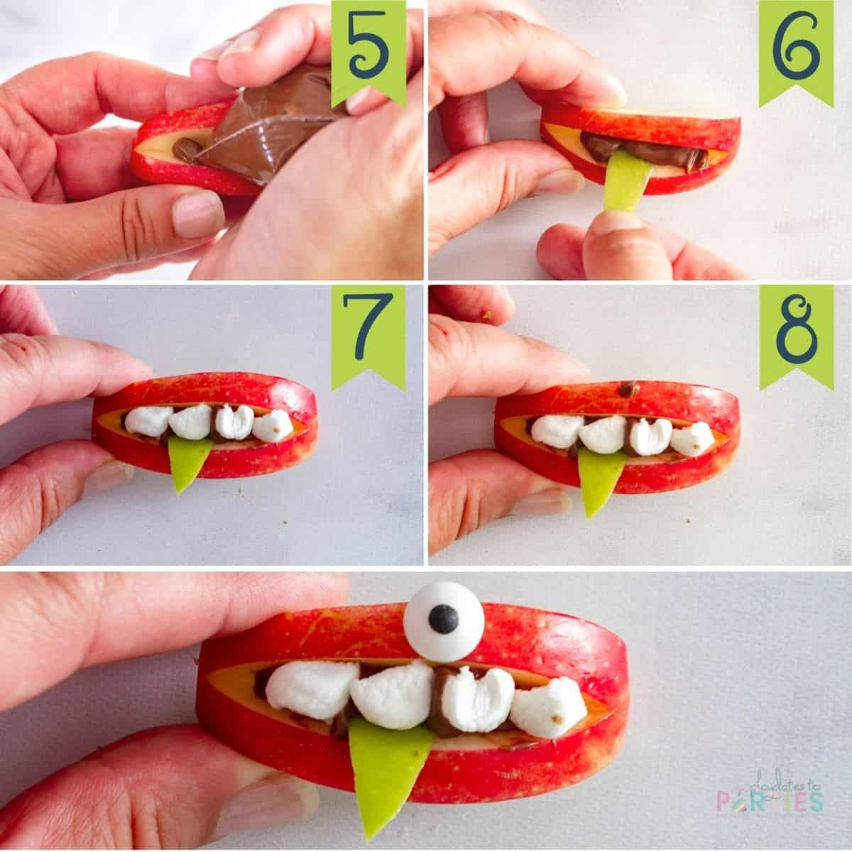 Steps 5-8 for making monster apple treats: piping in the filling, adding a tongue, adding the teeth, and sticking on a candy eyeball
