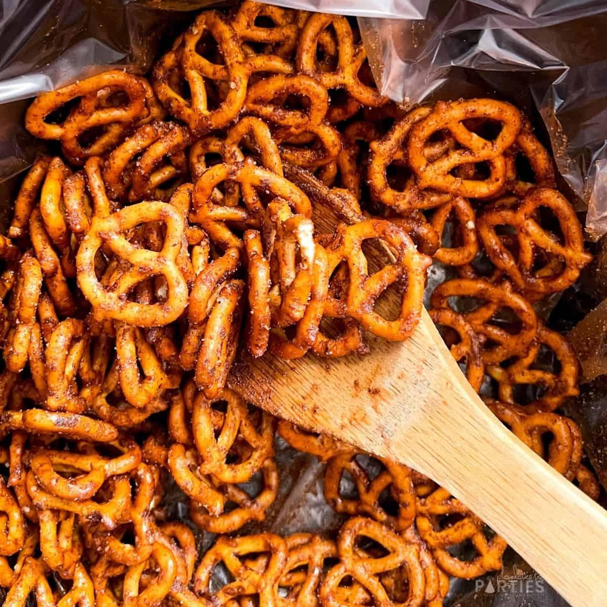 cooking mini spiced pretzels in a crock pot