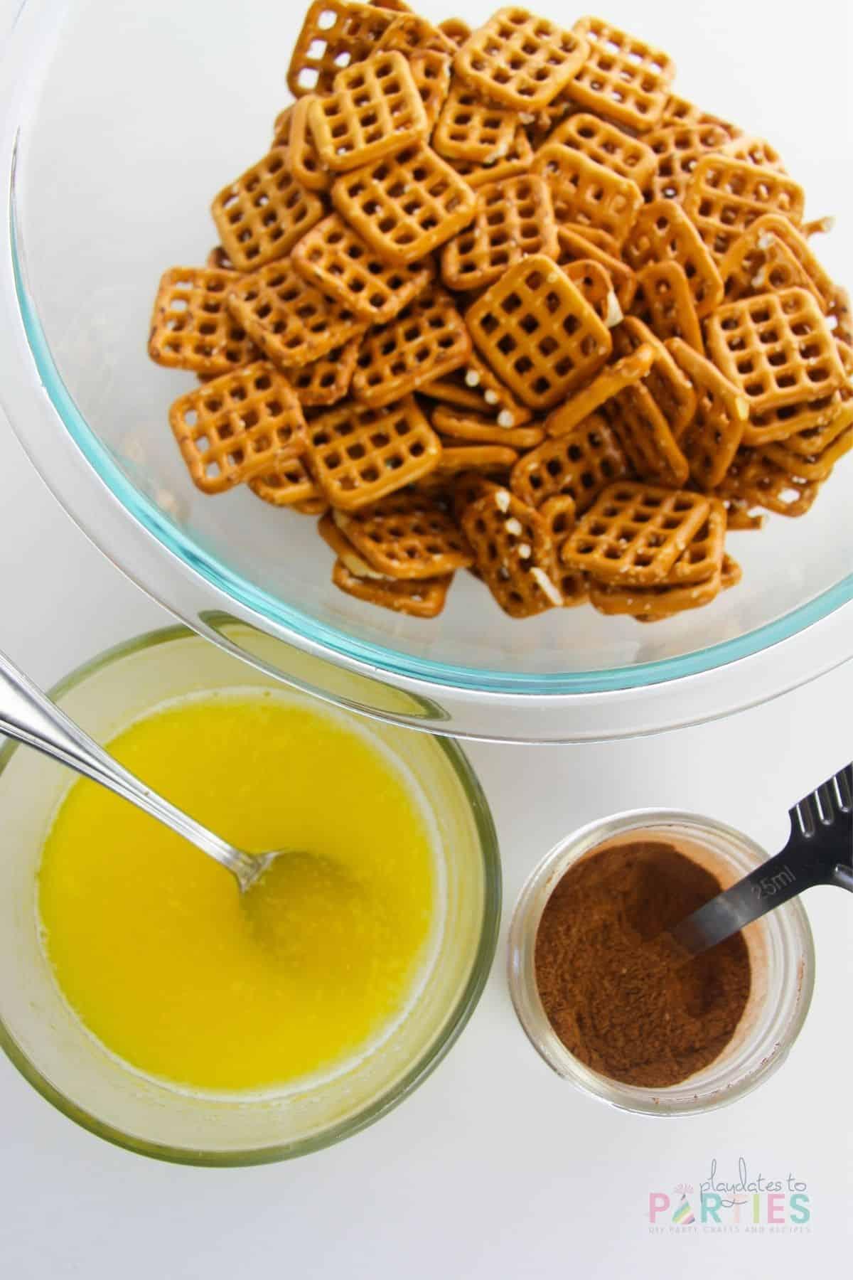ingredients for making apple pie pretzels