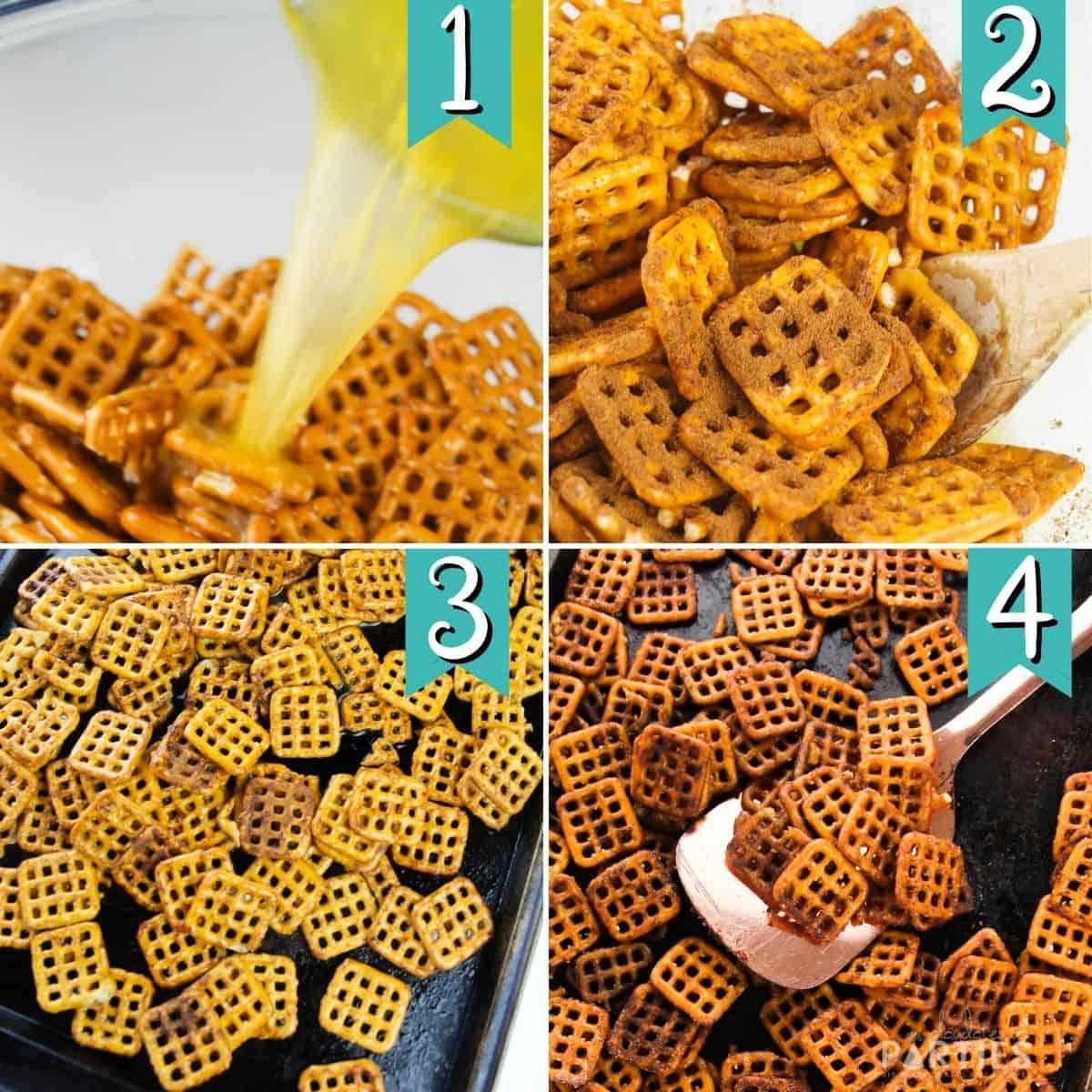 steps 1-4 for making apple pie spiced pretzels