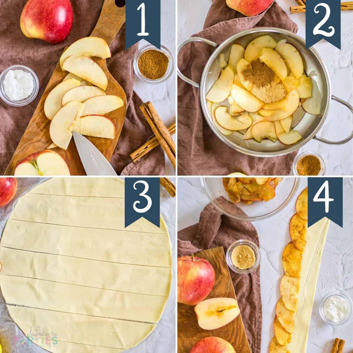 steps 1-4 for making apple roses