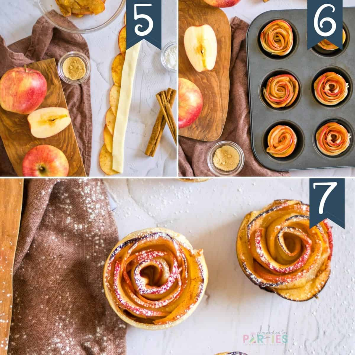 how to make apple roses steps 5-7