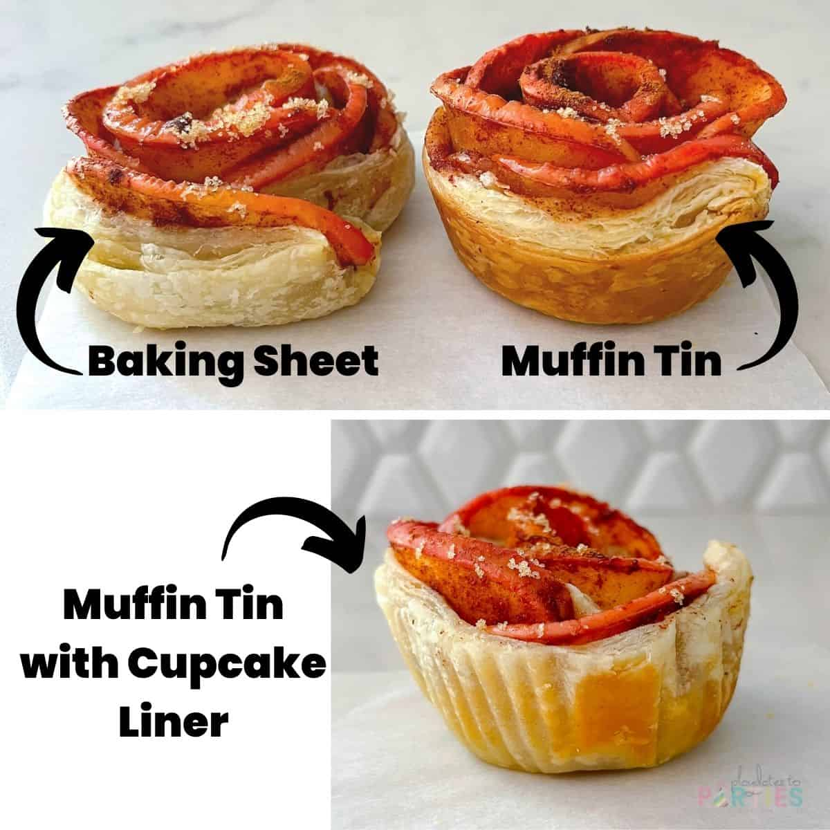 collage showing how apple roses bake on a baking sheet, in a muffin tin, and in a muffin tin with a cupcake liner