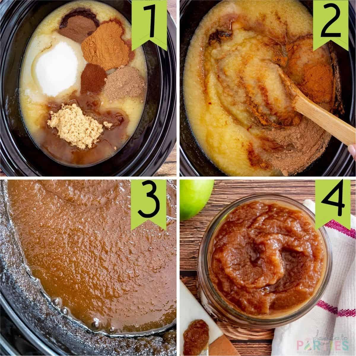 steps 1-4 for making easy apple butter in a crock pot
