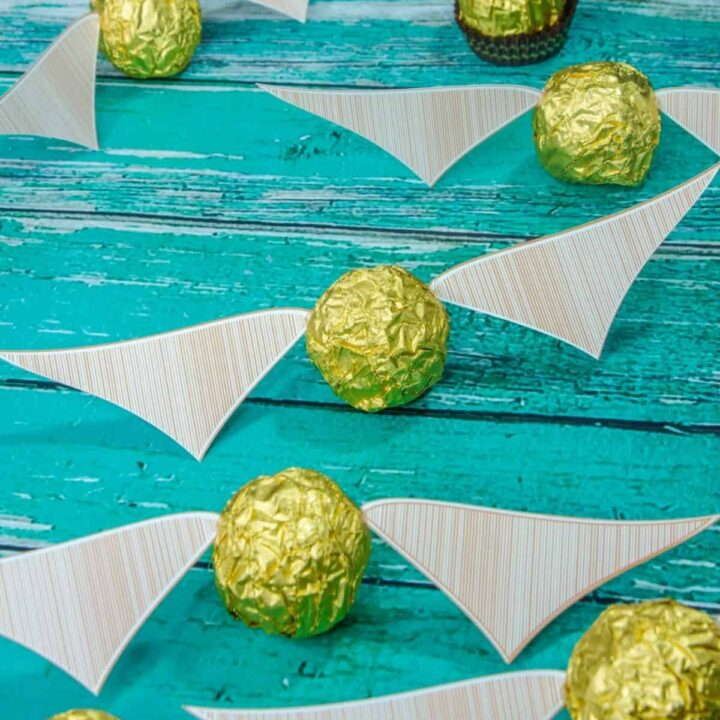 Ferrero Rocher golden snitch's scattered on a blue table with printed wings attached.